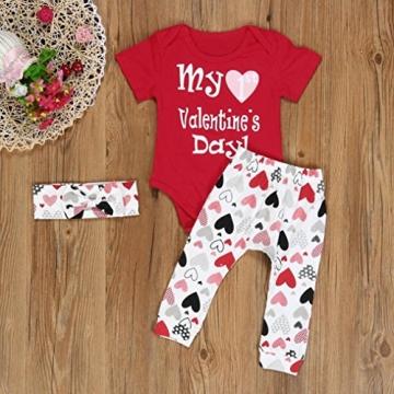Bekleidung Longra Säugling Baby Junge Mädchen Kleidung Strampler+ Hosen + Stirnband Valentinstag Baby Kleidung Set Outfits (0-24 Monaten) (70CM 6 Monate, Red) -
