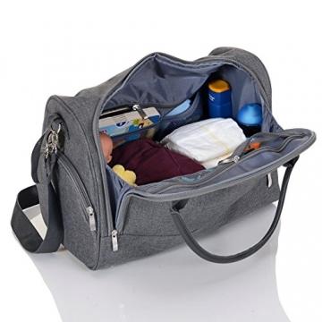 LCP Kids 668 Baby Wickeltasche SYDNEY GRAY mit wasserdichter Wickelunterlage und Kinderwagen Universal Befestigung in grau -