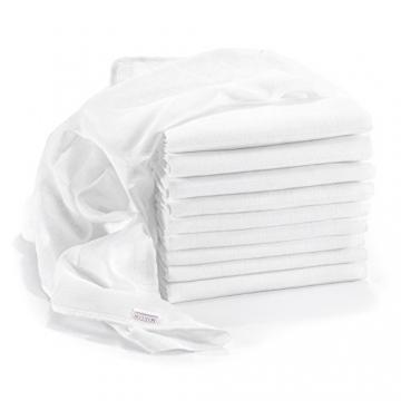 Mullwindeln / Spucktücher im 10er Pack, 80x80 cm, weiß | PREMIUM QUALITÄT - Schadstoffgeprüft, doppelt gewebt, verstärkte Umrandung, Öko-Tex Standard 100, kochfest | Stoffwindeln & Mulltücher fürs Baby -
